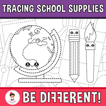 Back To School - Tracing Clipart (School Supplies)