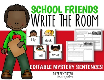 Back To School EDITABLE Mystery Sentences and Questions Write the Room