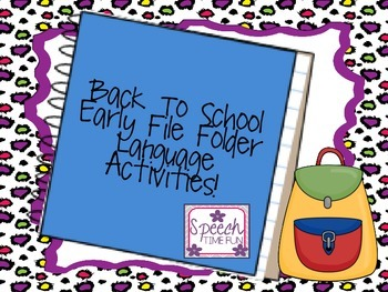 Back to School Early Language File Folder Activities