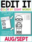 Back To School Edit It Color By Sight Word - Editable Printables