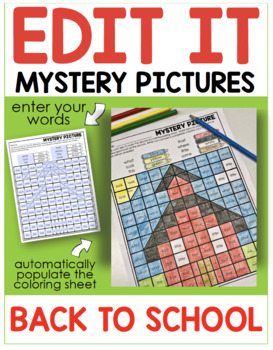 Editable Color by Code Sight Word Mystery Pictures - Back To School