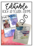 Back To School Editable Forms (Meet The Teacher & Classroo