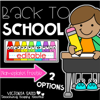 Back To School Editable Nameplates Freebie