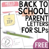 Back To School Editable Parent Letter for SLPs Introduction Print or No Print