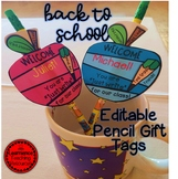 Back To School Editable Pencil Gift Tags