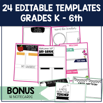 Meet the Teacher Template Editable Letters