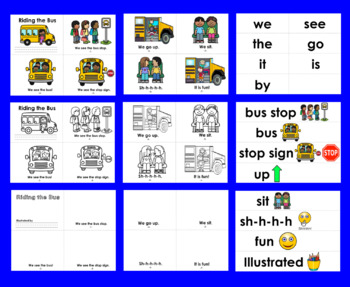 Back To School Emergent Readers - Bus Safety 2 Levels + Word Wall w/Pics