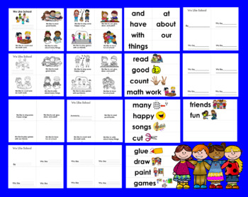 Back To School Emergent Readers-SET ONE- 2 RdgLevels-9 Versions&VocabCards CCSS