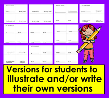 Back To School Emergent Readers-SET ONE- 2 RdgLevels-9 Versions&VocabCards CCSS