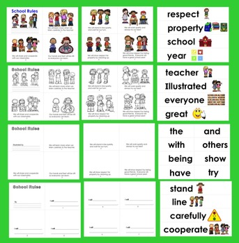 Class Rules Readers - 3 Reading Levels + Illustrated Word Wall - School Rules