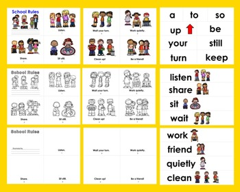 Classroom Rules Readers - 3 Reading Levels + Illustrated Word Wall