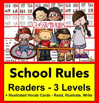 Class Rules Readers - 3 Reading Levels + Illustrated Vocab