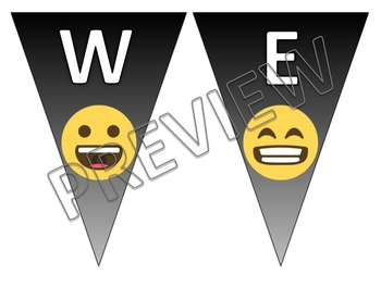 Back To School Black to Grey Emoji Welcome Banner