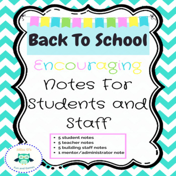 Back To School Notes For Students and Staff