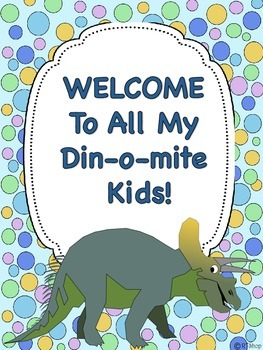 Back To School FREE Din-O-Mite Welcome Poster, Sign In Sheet, Cards