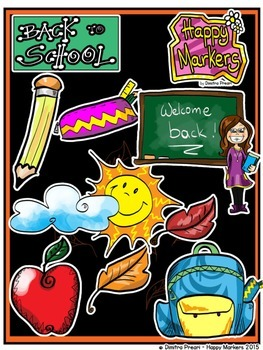 Back To School FULL VERSION (clip art by Happy Markers)