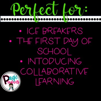 Back To School Fan and Pick Cooperative Learning Activity
