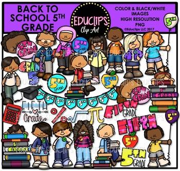 Back To School Fifth Grade Clip Art Bundle {Educlips Clip Art}