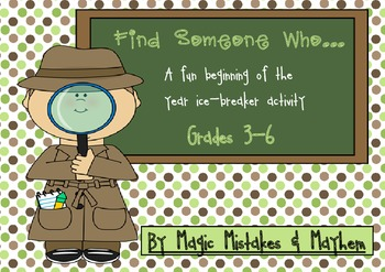 Back To School. Find Someone Who.... Grades 3-6