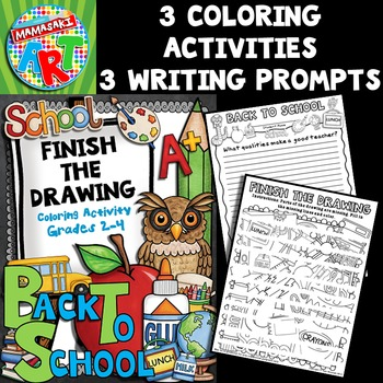 Back To School Finish the Drawing Coloring Activity