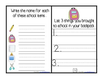 Back To School First Day Booklet