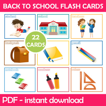 Back To School Flash Cards For Kindergarten and Preschool