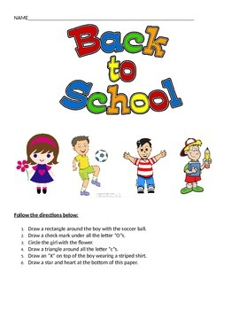 Back To School Following Directions