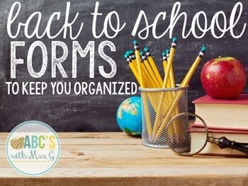 Back To School Forms FREEBIE