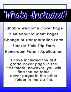 Open House Forms | Back to School Forms