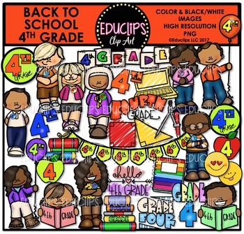 Back To School Fourth Grade Clip Art Bundle {Educlips Clip Art}