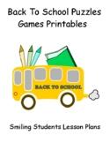 Back To School Games Activities Printables