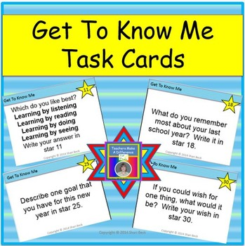 Back To School Get To Know Me Task Cards