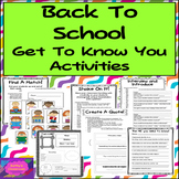 Back To School Activities * Get To Know You Icebreakers, 2