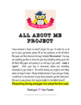 Back To School - Get To Know You Project
