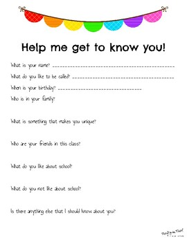 """Back-To-School """"Get to Know You"""" Form"""