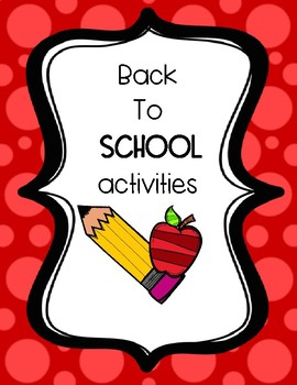 Back To School (Get to know me) Activities