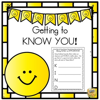 Back To School - Getting to KNOW YOU!  Booklet for the first day/week!