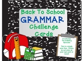 Back To School Grammar Challenge Cards FREE LESSON