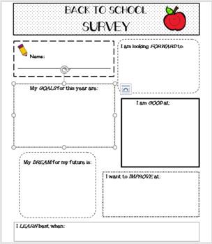 Back To School- Growth Mindset Student Survey (editable)