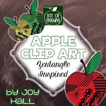 Back To School Hand Drawn Apple Clip Art - Zentangle Inspired