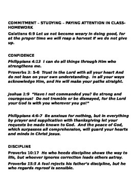 Back To School Handout- Scripture Verses To Help YOU!