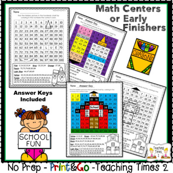 Back To School Hundreds Chart Hidden Pictures