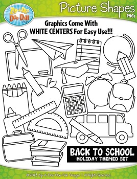 Back To School Picture Shapes Clipart {Zip-A-Dee-Doo-Dah Designs}