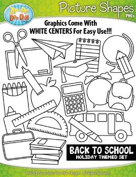 Back To School Picture Shapes Clipart {Zip-A-Dee-Doo-Dah Designs}
