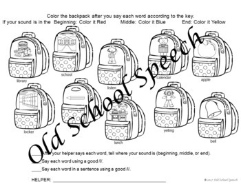 Back To School Homework for Speech Therapy