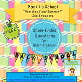 "Back To School ""How Was Your Summer?"" Icebreakers {FREE}"