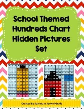 Back To School Hundreds Chart Hidden Picture Set Base Ten Number Sense