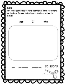 Back To School I Can Write Sight Word Sentences!