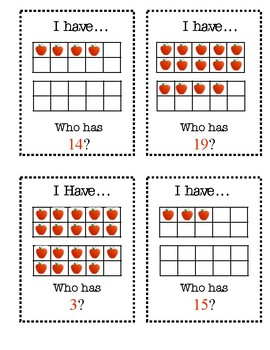 Back To School: I Have, Who Has? Ten Frames 1-20