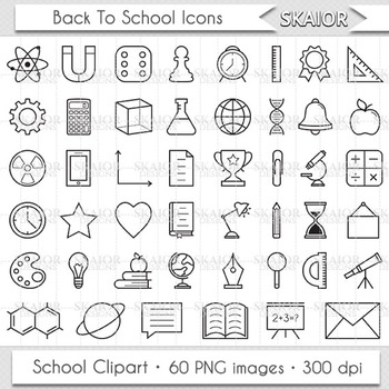 Back To School Icons Education Clipart School Clip Art Science Art Books